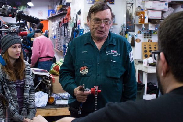 Nick Woodbury and the UVM Students developing the KickMagic Pneumatic Starter for Triumph Motorcycles