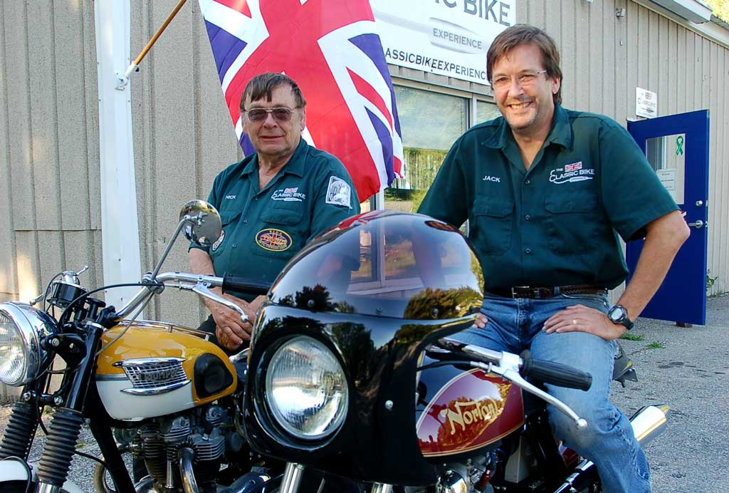 Nick and Jack, founders of KickMagic Pneumatic Starters for Triumph Motorcycles